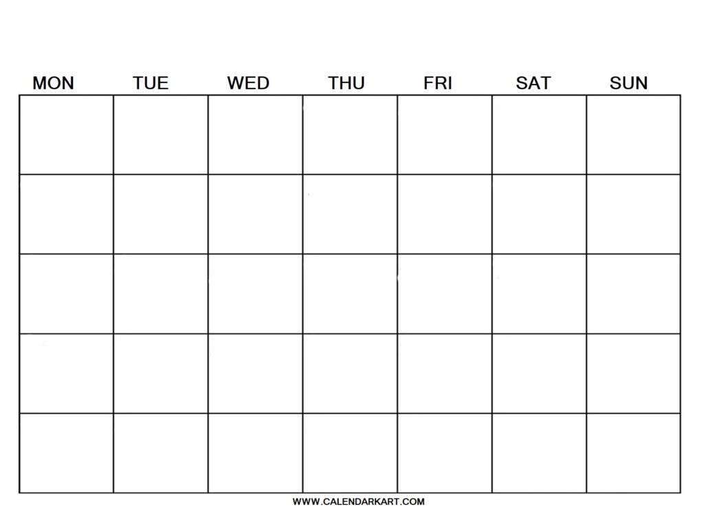 Blank Calendar Weekly Template