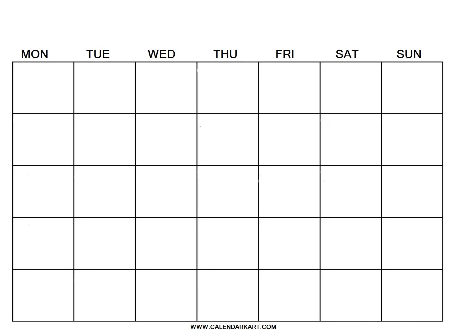 Calendar Blank Template from www.calendarkart.com