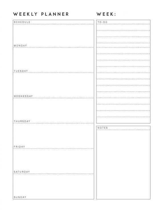 Free Weekly Planner 2020 Template