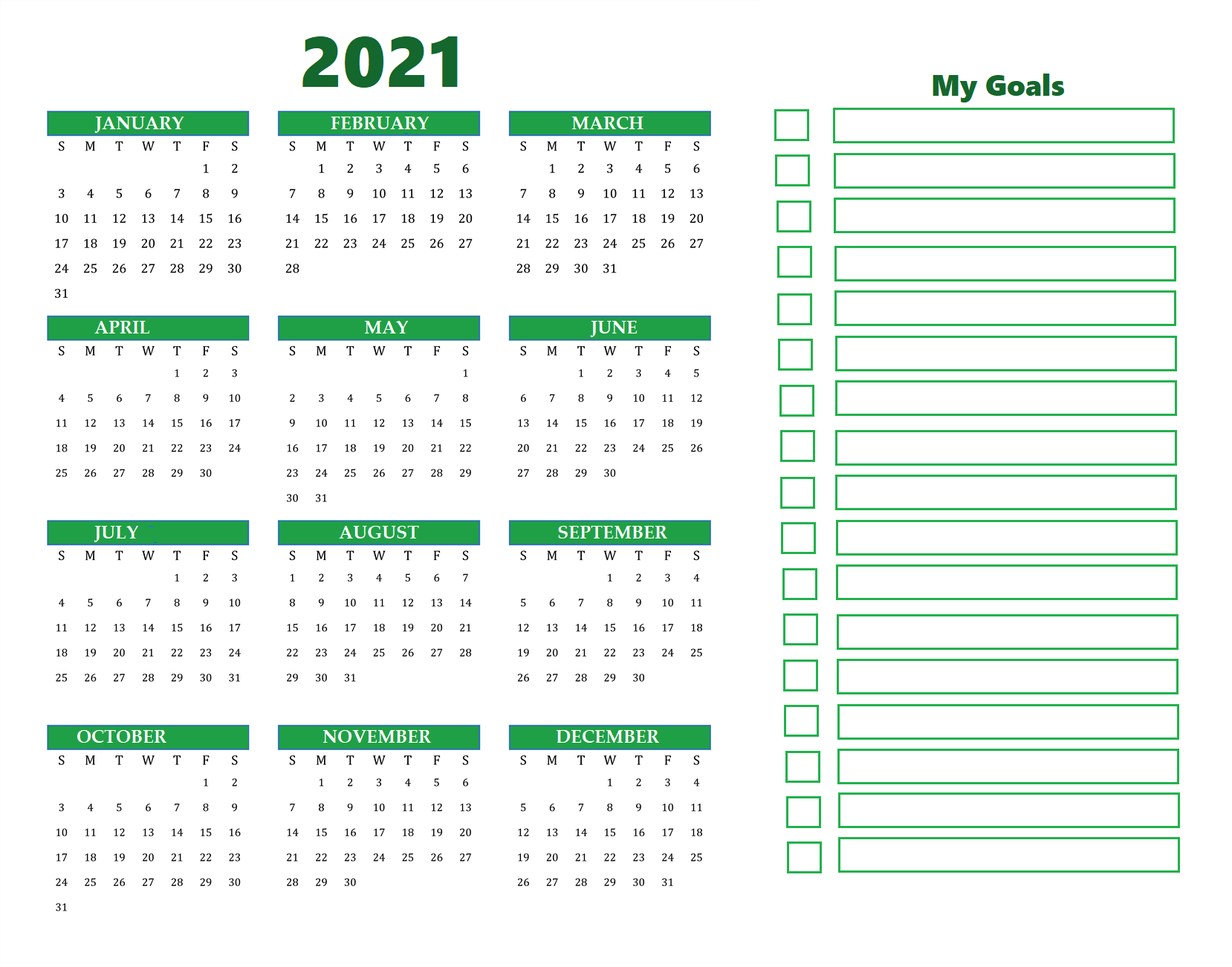 Free Printable Year At A Glance Calendar 2021 - CALENDARKART